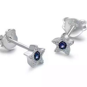 Sterling Silver 925 Blue Star Stud Earrings